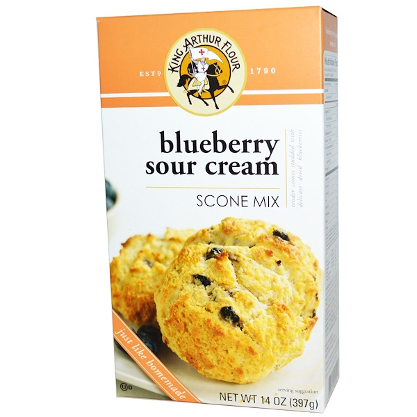 King Arthur Flour, Scone Mix, Blueberry Sour Cream, 14 oz (397 g) (Discontinued Item)
