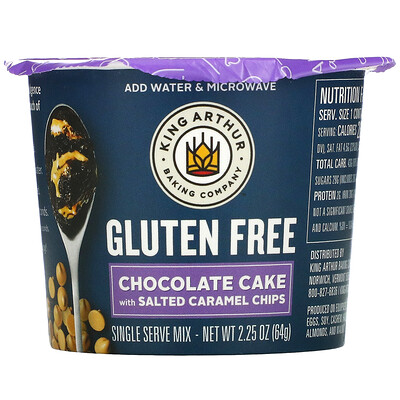 King Arthur Flour Gluten Free, Chocolate Cake With Salted Caramel Chips, Single Serve Mix, 2.25 oz (64 g)