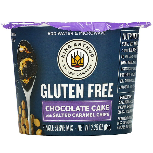 Gluten Free, Chocolate Cake With Salted Caramel Chips, Single Serve Mix, 2.25 oz (64 g)