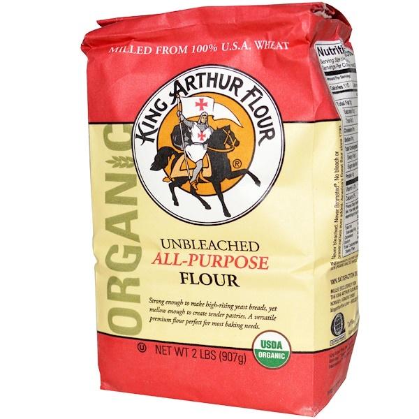 King Arthur Flour, Органическая, неотбеленная мука многоцелевого назначения, 2 фунта (907 г) (Discontinued Item)