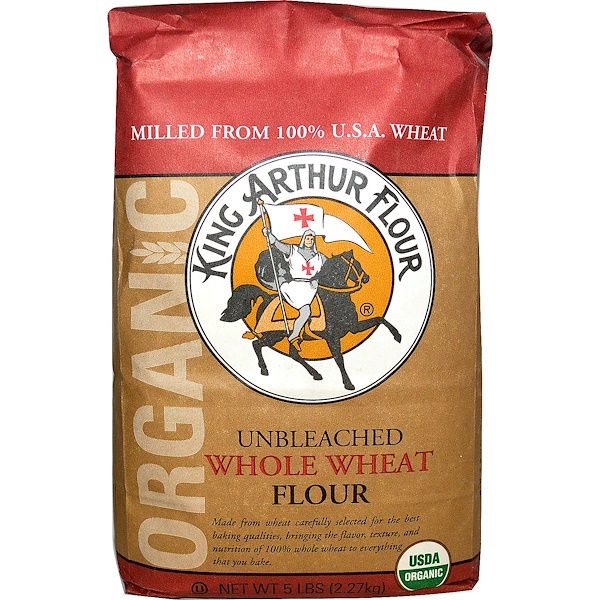 King Arthur Flour, Whole Wheat Flour, Unbleached, 5 lbs (2.27 kg) (Discontinued Item)