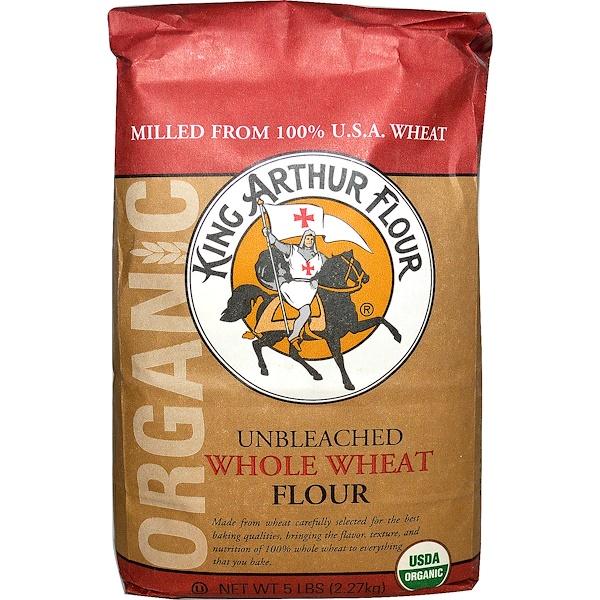 King Arthur Flour, Цельная пшеничная мука, неотбеленная, 5 фунтов (2,27 кг) (Discontinued Item)