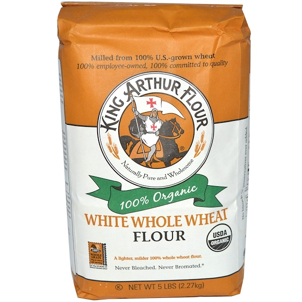 King Arthur Flour, Цельная мука из белой пшеницы, 5 фунтов (2,27 кг) (Discontinued Item)