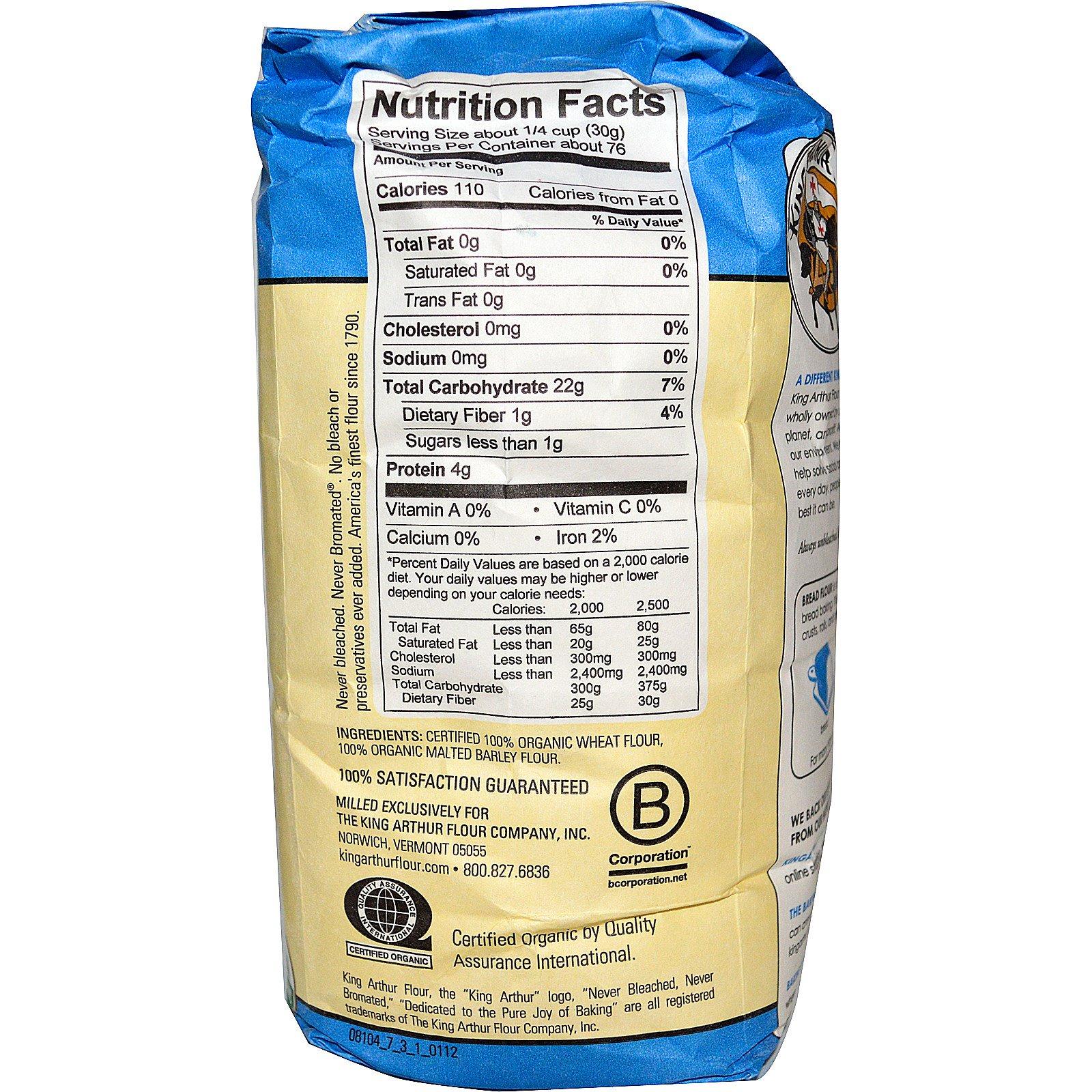 King Arthur Flour, Organic, Bread Flour, Unbleached, 5 Lbs