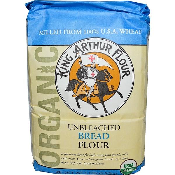 King Arthur Flour, Органическая хлебопекарная мука, неотбеленная, 5 фунтов (2.27 кг) (Discontinued Item)