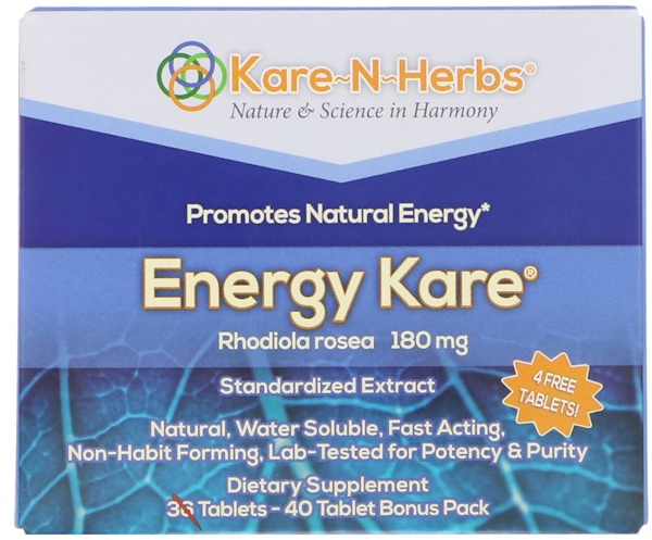 Kare n Herbs, Energy Kare, 180 mg, 40 Tablets (Discontinued Item)