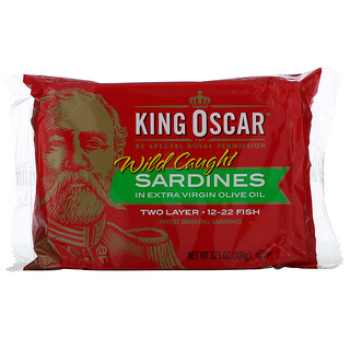 King Oscar, Wild Caught, Sardines In Extra Virgin Olive Oil, Two Layer 12-22 Fish, 3.75 oz (106 g)