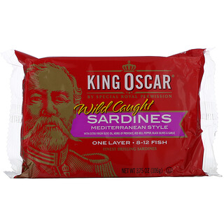 King Oscar, Wild Caught, Sardines Mediterranean Style, 3.75 oz (106 g)