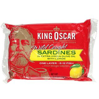King Oscar, Wild Caught Sardines In Extra Virgin Olive Oil With Lemon, 3.75 oz (106 g)