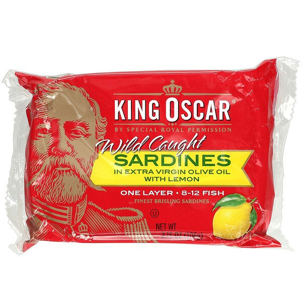 Wild Caught Sardines In Extra Virgin Olive Oil With Lemon, 3.75 oz (106 g)