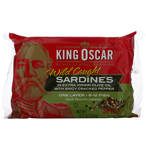 King Oscar, Wild Caught, Sardines In Extra Virgin Olive Oil, 3.75 oz (106 g)'