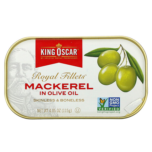 Royal Fillets,鯖魚,載於橄欖油中,4.05 盎司(115 克)