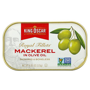 King Oscar, Royal Fillets, Mackerel In Olive Oil, 4.05 oz (115 g)