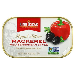 King Oscar, Royal Fillets, Mackerel Mediterranean Style, 4.05 oz (115 g)