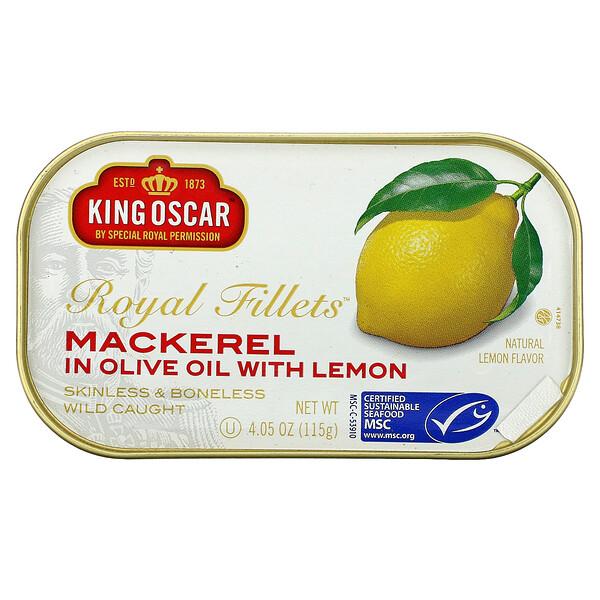King Oscar, Royal Fillets, Mackerel In Olive Oil With Lemon,  4.05 oz ( 115 g)