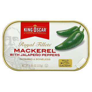 King Oscar, Royal Fillets, Mackerel With Jalapeno Peppers, 4.05 oz (115 g)