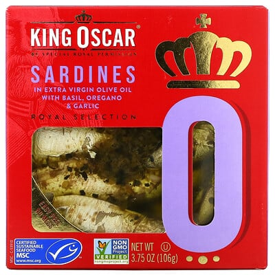 Купить King Oscar Sardines In Extra Virgin Olive Oil with Basil, Oregano & Garlic, 3.75 oz ( 106 g)