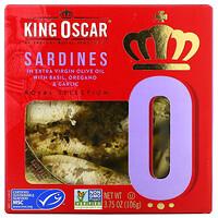 King Oscar, Sardines In Extra Virgin Olive Oil with Basil, Oregano & Garlic, 3.75 oz (106 g)