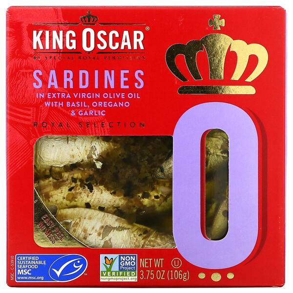 沙丁鱼,载于含罗勒的高级初榨橄榄油中,牛至和大蒜,3.75 盎司(106 克)