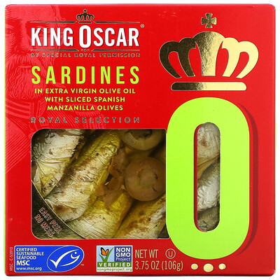 Купить King Oscar Sardines In Extra Virgin Olive Oil With Sliced Spanish Manzanilla Olives, 3.75 oz ( 106 g)