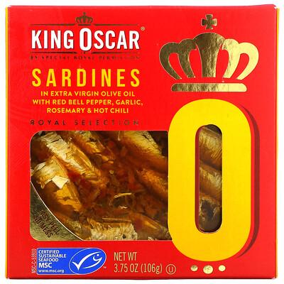 Купить King Oscar Sardines In Extra Virgin Olive Oil With Red Bell Pepper, Garlic, Rosemary & Hot Chili, 3.75 oz (106 g)