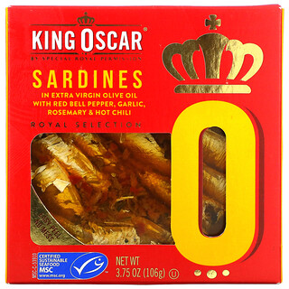 King Oscar, Sardines In Extra Virgin Olive Oil With Red Bell Pepper, Garlic, Rosemary & Hot Chili, 3.75 oz (106 g)