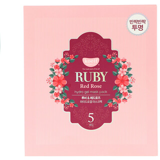Koelf, Ruby Red Rose Hydro Gel Mask Pack, 5 Masks, 30 g Each