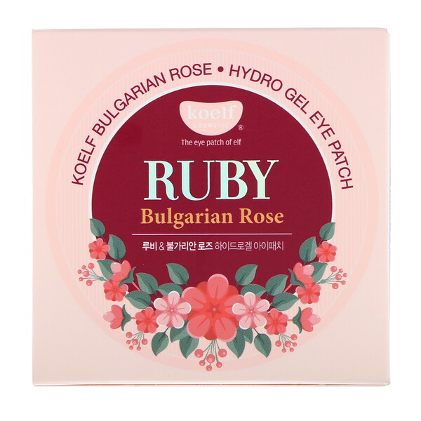 Koelf, Ruby Bulgarian Rose Hydro Gel Eye Patch, 60 Patches