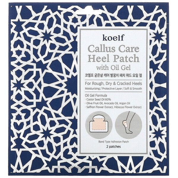 Koelf, Patch para Calcanhar Callus Care com Gel Oleoso, 3 Saquinhos