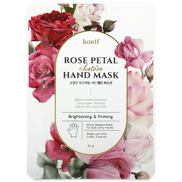 Koelf, Rose Petal Satin Hand Mask, 1 Pair, 16 g