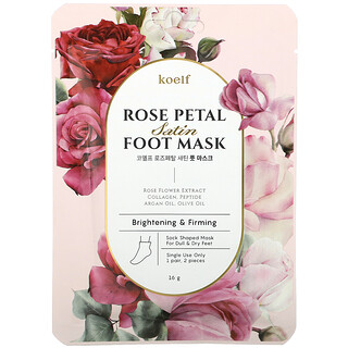 Koelf, Rose Petal Satin Foot Mask, 1 Pair, 16 g