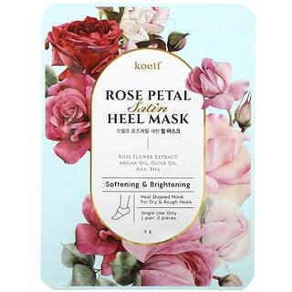 Koelf, Rose Petal Satin Heel Mask, 1 Pair, 6 g