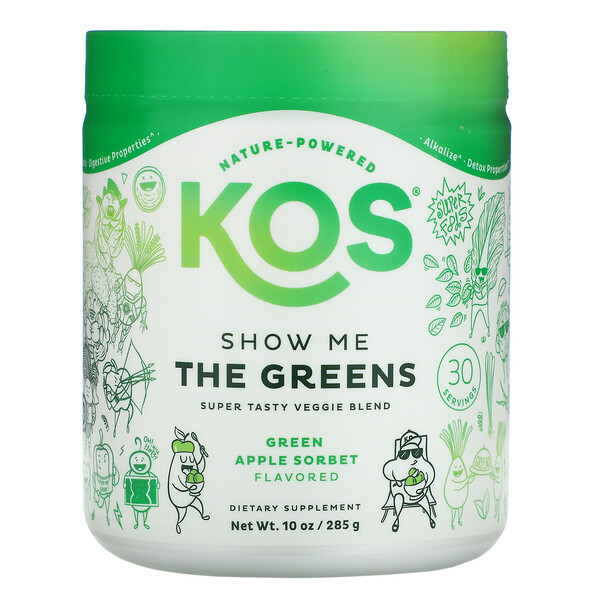 KOS, Show Me The Greens, Super Tasty Veggie Blend, Green Apple Sorbet, 10 oz (285 g)