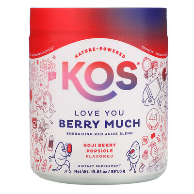 Купить KOS Love You Berry Much, Energizing Red Juice Blend, Goji Berry Popsicle, 13.81 oz (391.6 g)