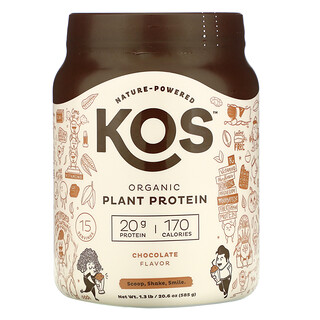 KOS, Organic Plant Protein, Chocolate, 1.3 lb (585 g)