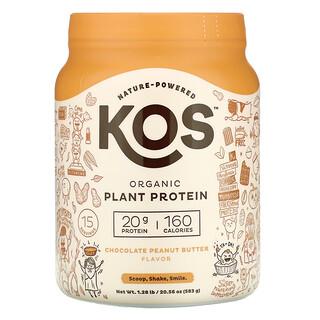 KOS, Organic Plant Protein, Chocolate Peanut Butter, 1.28 lb (583 g)