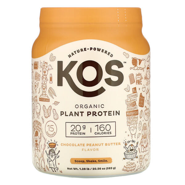 KOS, Organic Plant Protein, Chocolate Peanut Butter, 1.28 lb (583 g)