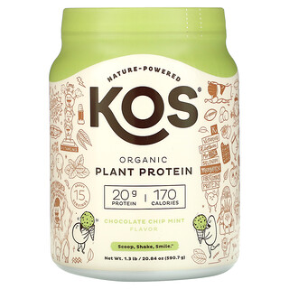 KOS, Organic Plant Based Protein, Chocolate Chip Mint, 1.3 lb (590.7 g)