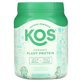 KOS, Organic Plant Protein, Unflavored & Unsweetened, 1.5 lb (680 g)