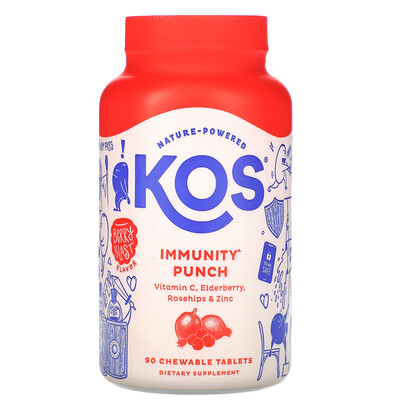 Купить KOS Immunity Punch, Berry Blast Flavor, 90 Chewable Tablets