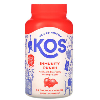 KOS, Immunity Punch, Berry Blast Flavor, 90 Chewable Tablets