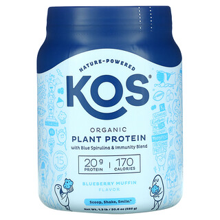 KOS, Organic Plant Based Protein with Blue Spirulina + Immunity Blend, Blueberry Muffin, 1.3 lb (585 g)