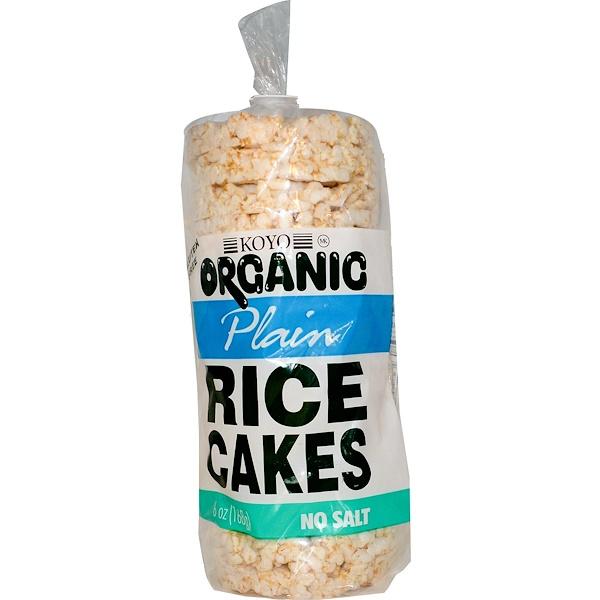 Koyo Natural Foods, Organic Plain Rice Cakes, No Salt, 6 oz (168 g) (Discontinued Item)