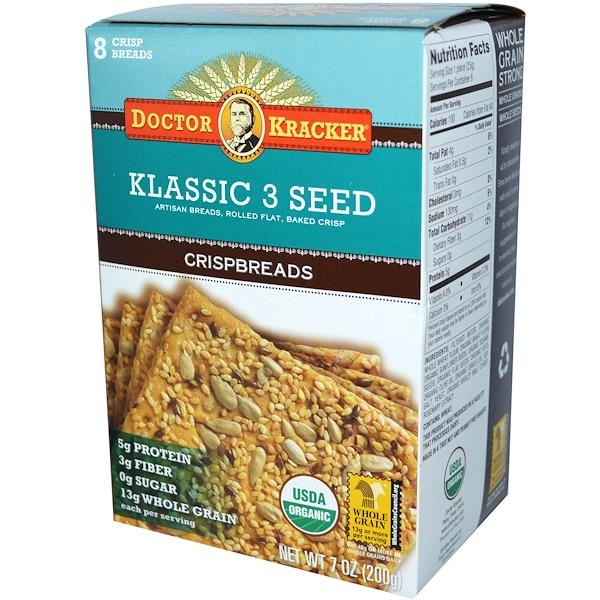 Dr. Kracker, Классические хрустящие хлебцы, из 3 видов семян, 7 унций (200 г)