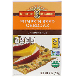 Dr. Kracker, Хрустящие тонкие кусочки хлеба с тыквенными семечками и сыром чеддер, 8 шт., 7 унций (200 г)