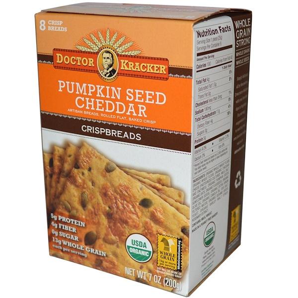 Dr. Kracker, Pumpkin Seed Cheddar Crispbreads, 8 Crisp Breads, 7 oz (200 g)