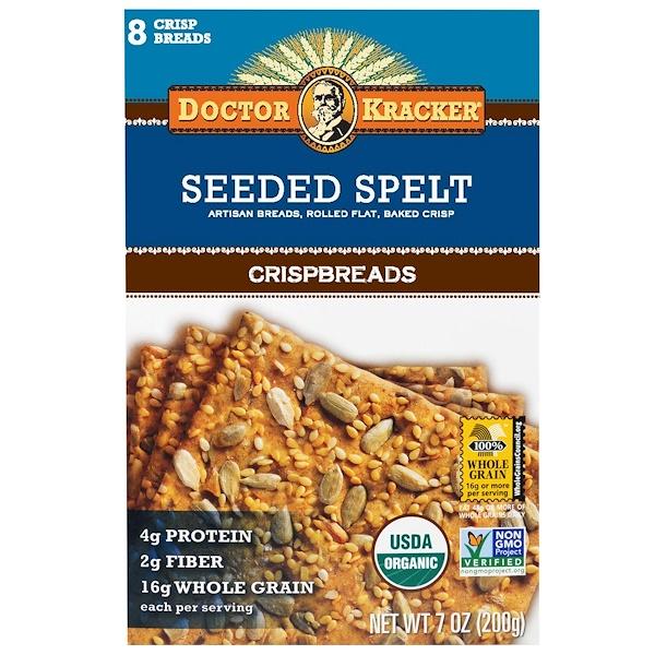 Dr. Kracker, Богатые клетчаткой хлебцы из пшеницы, 8 хлебцов, 7 унций (200 гр)
