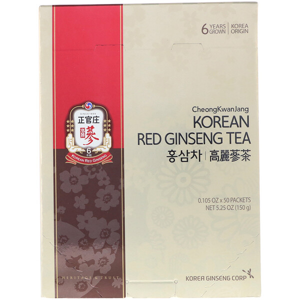 Korean Red Ginseng Tea, 50 Packets, 0.105 oz (3 g) Each