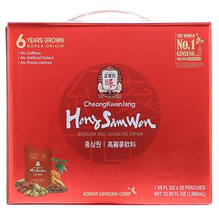 Cheong Kwan Jang, Hong Sam Won, Korean Red Ginseng Drink, 20 Pouches, 1.69 fl oz (50 ml) Each