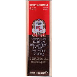 Cheong Kwan Jang, Korean Red Ginseng Extract Everytime, 2000 mg, 10 Sticks, 0.34 fl oz (10 ml) Each